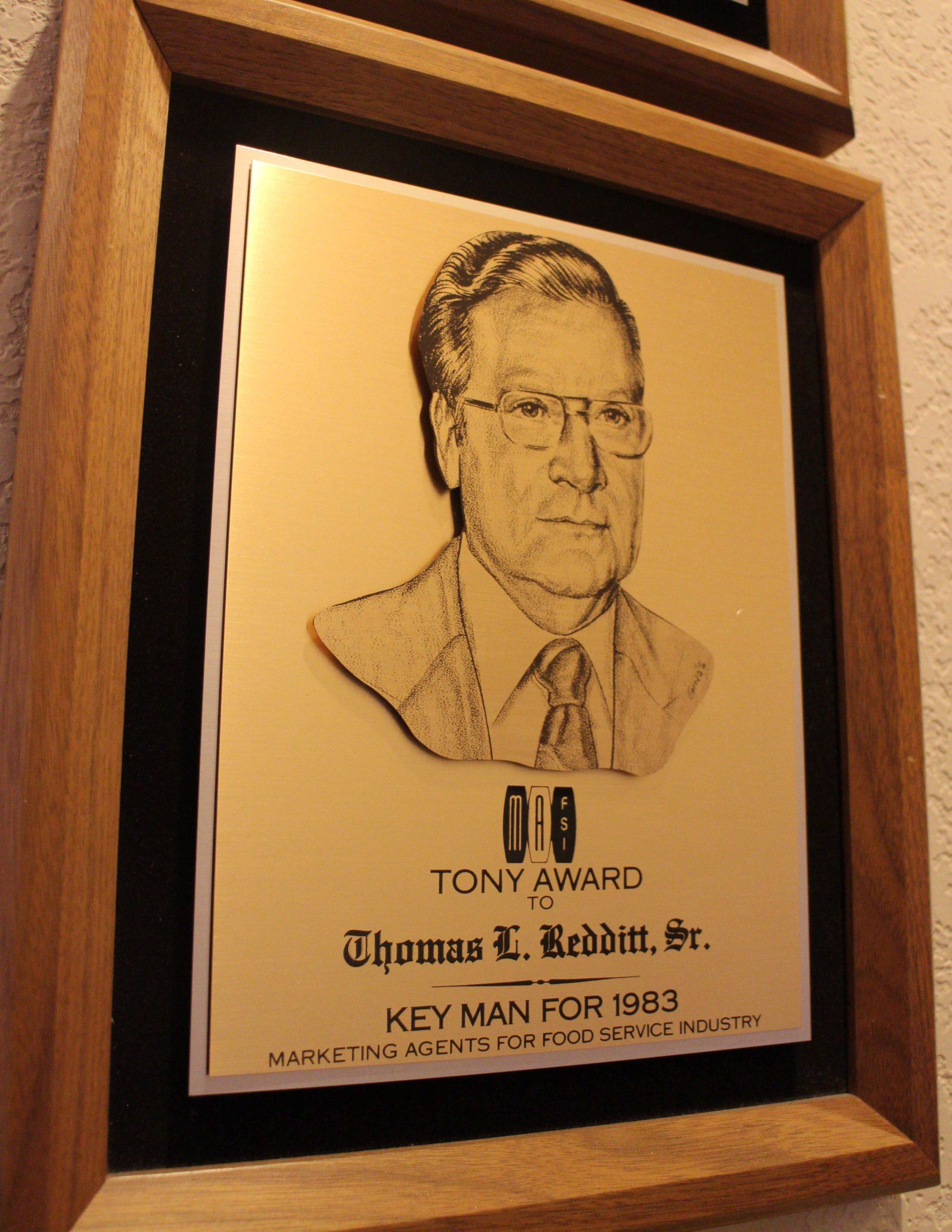 Plaque awarded to Tom Redditt Sr
